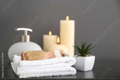 Bath accessories on dark table