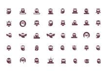 Owl Icon Collection. Set Of Ou...