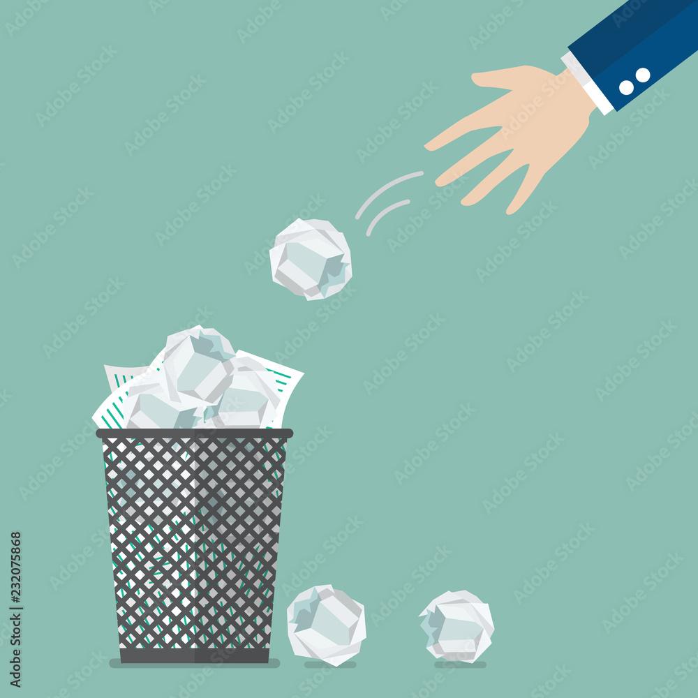 Fototapeta Businessman throwing crumpled paper to trash