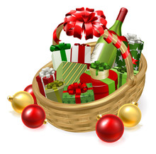 A Christmas Hamper Gift Basket Graphic Illustration With Baubles And Bow Ribbon