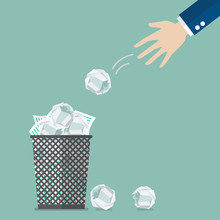 Businessman Throwing Crumpled Paper To Trash