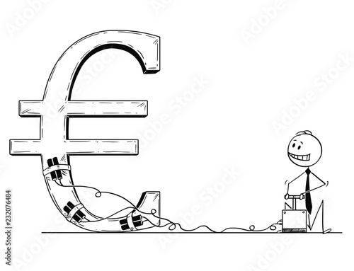 Fotografía  Cartoon stick man drawing conceptual illustration of businessman using detonator and explosives as metaphor of speculation and trying to destroy or crash Euro currency symbol