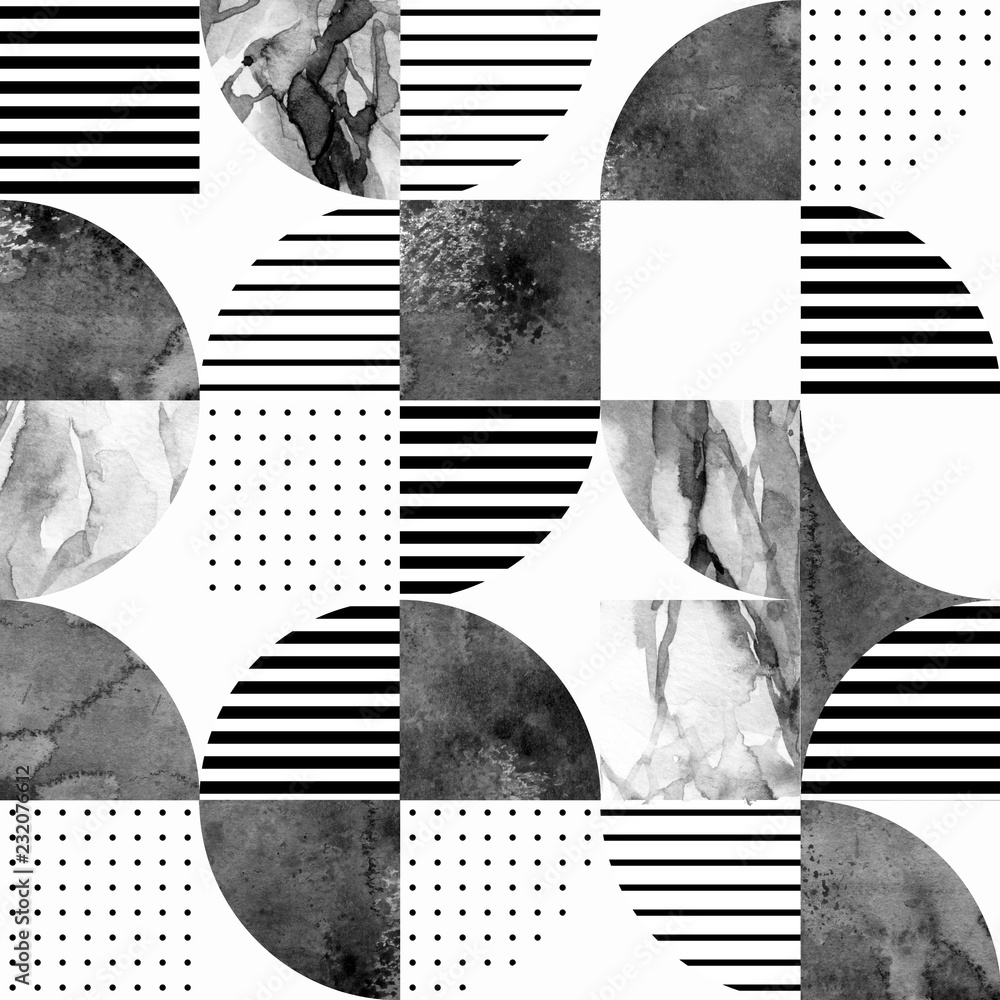 Modern seamless geometric pattern: semicircles, circles, squares, grunge, marble, watercolor textures, doodles.
