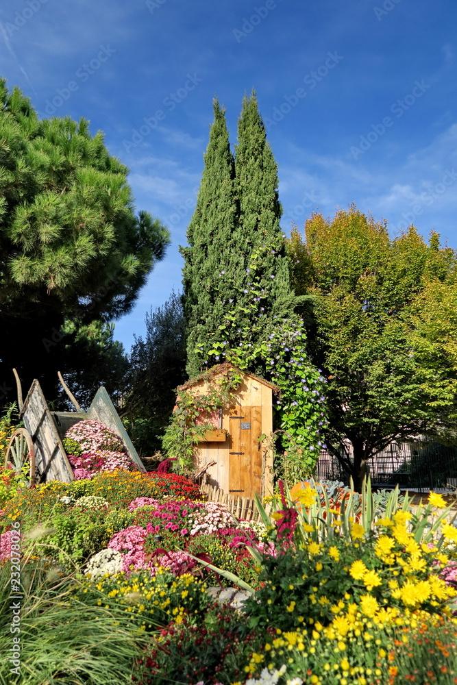 jardin fleuri avec cyprès et chrysanthèmes Foto, Poster, Wandbilder ...