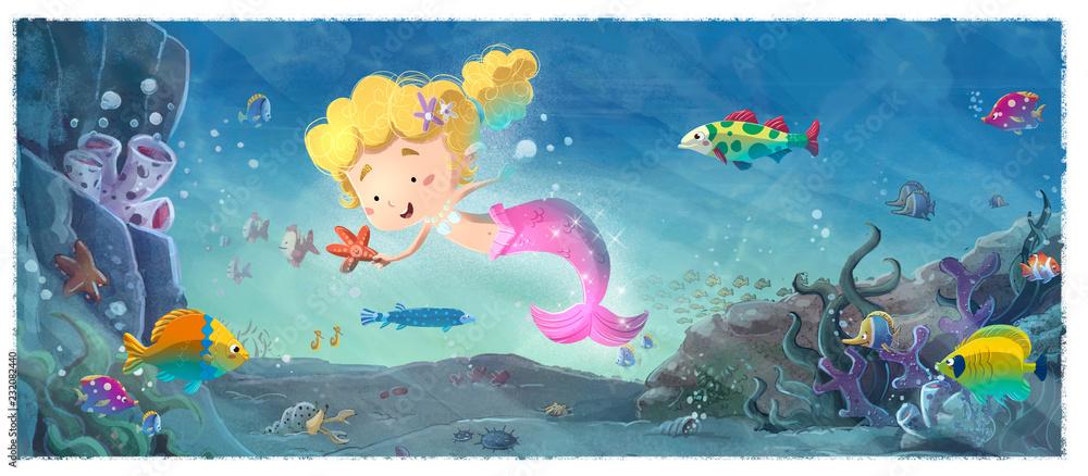 sirena jugando bajo el mar