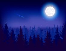 Night Landscape Moonlit Night ...