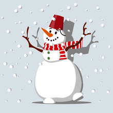 Happy Snowman In A Striped Scarf On The Eve Of Christmas. Illustration In Flat Style.