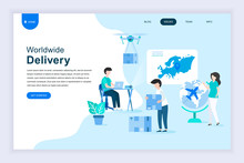 Modern Flat Design Concept Of Worldwide Delivery For Website And Mobile Website Development. Landing Page Template. Warehouse, Truck, Forklift, Courier, Drone And Delivery Man. Vector Illustration.