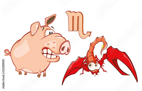 Staande foto Babykamer Illustration of a Cute Pig. Astrological Sign in the Zodiac Scorpion. Cartoon Character
