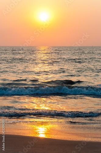 Printed kitchen splashbacks Cappuccino Sunset sun above the Arabian sea beach in Kochi, India.