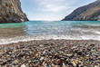 Panoramic view of beautiful beach, turquoise lagoon and rocks. Travelling and holiday concept. Agio Farango beach. Crete.