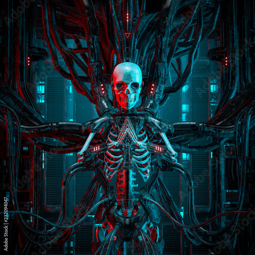 Photo  The quantum reaper / 3D illustration of science fiction human android gamer skel