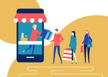 Shopping Online - Flat Design ...