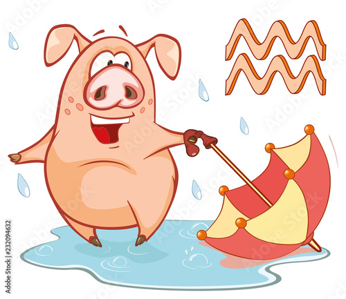 Staande foto Babykamer Illustration of a Cute Pig. Astrological Sign in the Zodiac Aquarius. Cartoon Character