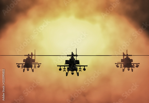 Garden Poster Helicopter Silhouette of helicopter, soldiers rescue helicopter operations on sunset sky background. Copter in smog. 3D illustration