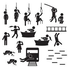 Suicide People Icon Set.  People Conducting Suicide Icons. Vector.