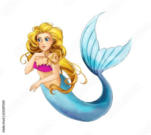 Aluminium Prints Mermaid cartoon young princess - smiling beautiful marmaid swimming - illustration for children