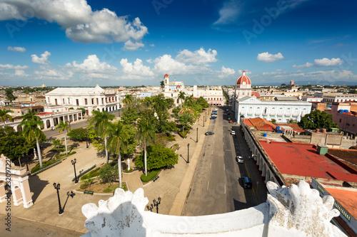 View over plaza de armas in Cienfuegos, Cuba Canvas Print