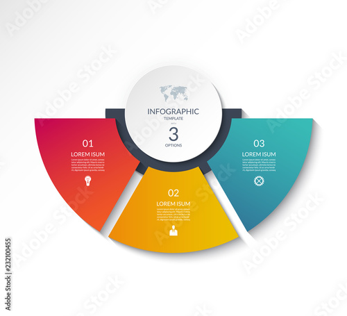 Obraz Business infographic semi circle template with 3 options. Can be used as a chart, workflow layout, diagram, data visualization, minimalistic web banner. - fototapety do salonu