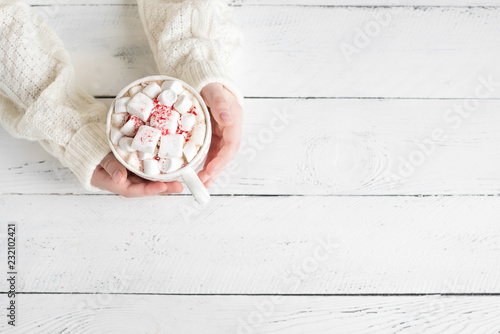 Peppermint Hot Chocolate in hands