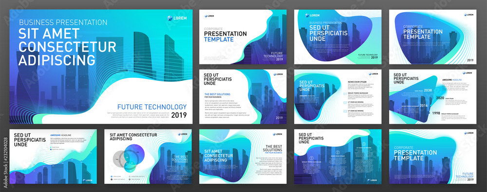 Fototapeta Powerpoint presentation templates set for business and construction. Use for keynote presentation background, brochure design, website slider, landing page, annual report.