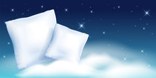 Two Feather Pillow Against The Starry Night Sky And Cloud