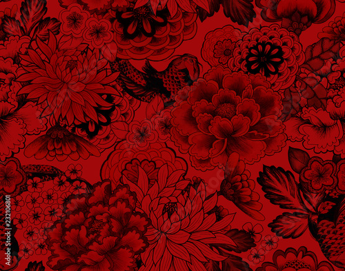 Papiers peints Artificiel vintage seamless asian traditional patterns. Japanese painted flowers peonies, chrysanthemums, dahlias
