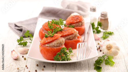 Fototapeta stuffed tomato with minced beef obraz