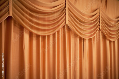 Printed kitchen splashbacks Theater Fabric curtains. It pelmet in the form of swing.