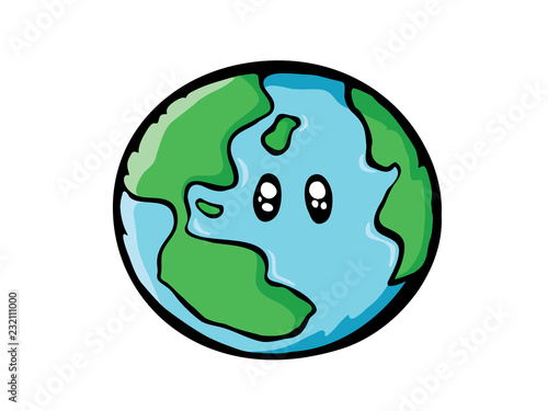Earth Drawing World Map Or Globe In Doodles Style Cartoon Concept