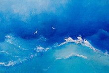 Sea Painting. Waves And Seagulls On Canvas Oil Painting For The Background Of A Major Stroke.