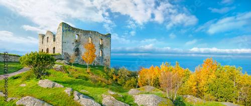Ancient castle Brahehus near town Granna and lake Vattern. Sweden Canvas