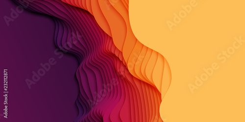 Stampa su Tela Vector 3D abstract background with paper cut shapes
