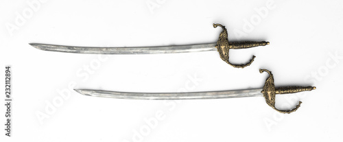 ancient medieval swords on white isolated background Canvas