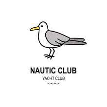 Seagull Hand Drawn Graphic Logo Concept Isolated On Background. Simple Doodle Style Vector Icon. Travel Nautic Club Logotype With Cute Bird