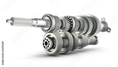 Vászonkép Automotive transmission gearbox Gears inside on white background 3d render with