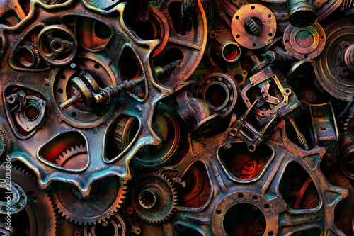Fotografie, Obraz  Steampunk texture, backgroung with mechanical parts, gear wheels