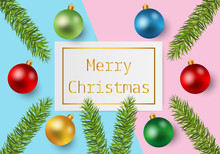 Christmas Background With Colorful Christmas Balls On Pastel Paper Background. Vector Illustration