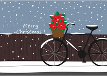 Winter Background With Bicycle And Red Flower Cartoon Design, Christmas, Festival Vector And Illustration