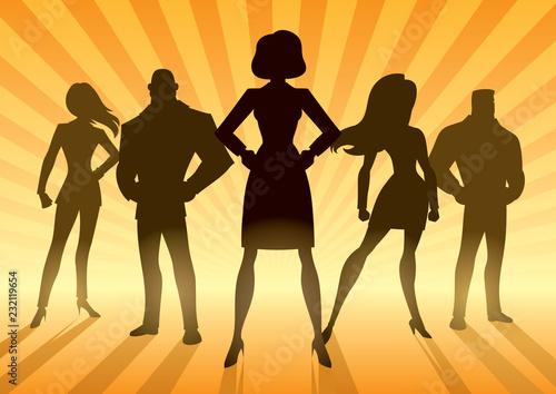 Fotografie, Tablou  Conceptual illustration depicting business team with female leader or manager