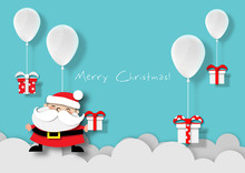 Paper Art Of Balloon White Color Floating And Santa Claus On In The Air Blue Sky Background,Christmas,Festival,vector