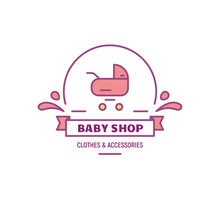 Baby Shop Logo. Baby Carriage On Logotype And Text. Emblem Store With Stuff For Kids. Thin Line Style Illustration. Line Style Illustration.