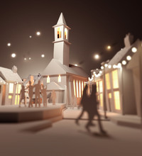 People Gathering At Christmas Near The Town Church. Paper Craft Style - 3D Illustration