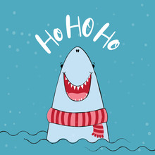 Ho Ho Ho -  Funny Vector Quotes And Shark Drawing. Hand Drawn Lettering For Xmas Greetings Cards. Lettering Poster Or T-shirt Textile Graphic Design. / Cute Shark Character Illustration.