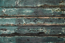 Texture Of Aged Turquoise Wooden Boards Wall