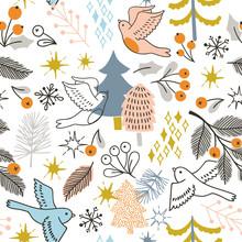 Christmas Seamless Pattern With Tree, Birds, Barrys.