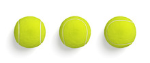 3d Rendering Of Similar Bright Yellow Tennis Balls Hanging On White Background In Top View.