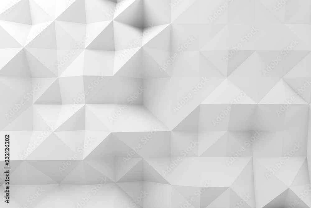 Abstract low polygonal pattern, white mosaic