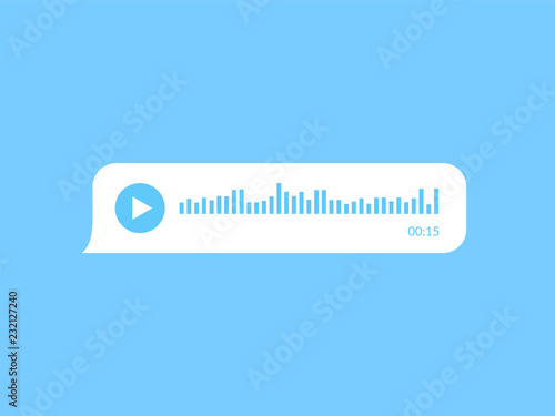 Audio message speech bubble with voice waveform. Tablou Canvas