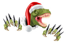 A T Rex Dinosaur Wearing A Santa Christmas Hat And Tearing Through The Background